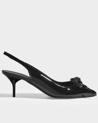 Fink mid height sling backs aus schwarzem Leder
