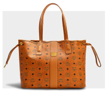 Liz Project Visetos Reversible Medium Shopper Bag in Cognac Coated Canvas