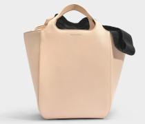 Shopper Tasche aus schwarzem Grosgrain und beigem Kalbsleder