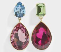 Ohrringe Dynasty Fuschia aus Messing und Swarovskikristallen