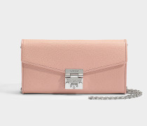Large Geldbörse mit Center Zip und Chain aus blush rosanem Park Avenue Leder