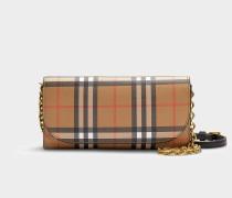 Brieftasche Henley aus Vintage Check-Gewebe und schwarerm Kalbsleder mit abnehmbarem Riemen