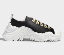 Satin Exagerated Sole Sneakers aus schwarzem und weißem Satin