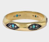 Kriss Ring aus türkisem und 24K goldfarbenem-plattiertemem Silber