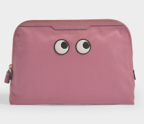 Lotions and Potions Eyes Clutch aus Nylon und hell rosanem Leder