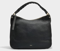Große Handtasche Hobo Rialto aus schwarzem Kalbsleder