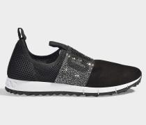 Sneaker Oakland Crystal aus Samt und schwarzer Wolle mit Kristalldetails