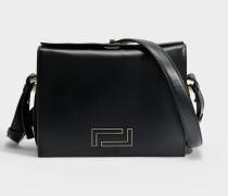 Pia Crossbody Tasche aus schwarzem Wildleder und glattem Leder