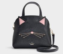 Kleine Handtasche Lottie Cat's Meow aus Kalbsleder Saffiano in Schwarz
