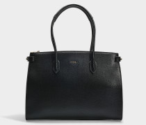 Shopper Pin East/West Medium aus Kalbsleder Saffiano in Schwarz
