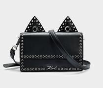 Rocky Choupette Shoulder Bag aus schwarzem glattem Kalbsleder