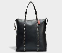 Rockstud Zipped Tote Bag aus schwarzem Kalbsleder und Seide