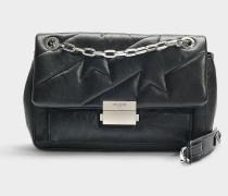 Handtasche mit Schulterriemen Ziggy aus schwarzem Kalbsleder