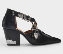 Stiefeletten mit Ausschnitten aus schwarzem Leder