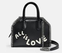All Is Love Falabella Box Tiny Tote Bag aus schwarzem und elfenbeinfarbenem Polyurethan