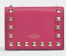 Portemonnaie Rockstud aus aus rosa Kalbsleder