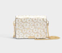 Jade Medium Gusset Clutch aus Optic goldenem metalloptischem besticktem Leder