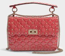 Rockstud Spike Medium Shoulder Tasche aus Transparentem hell Poppy Plexiglas