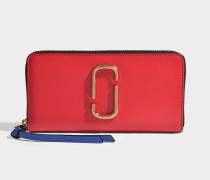 Portemonnaie Standard Continental aus Kalbsleder mit Polyurethan Beschichtung in Rot und Bunt