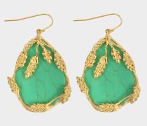 Hängende Ohrringe Françoise aus vergoldetem Messing und Türkis
