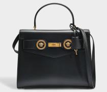Tribute Icon Top Handle Large Bag aus schwarzem Kalbsleder