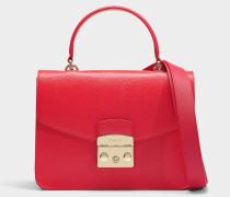 Kleine Handtasche Metropolis aus rotem Kalbsleder