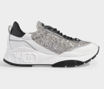 Sneaker zum Schnüren Raine aus Kalbsleder und platinfarbenem Material