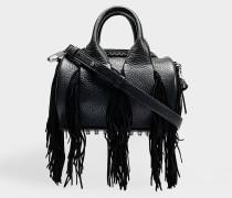 Mini Rockie Tasche mit Fransen aus schwarzem Kalbsleder