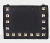 Portemonnaie Rockstud aus schwarzem Kalbsleder