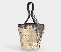 Roxy Mini Bucket Bag with Shiny Glitters in Black Lambskin