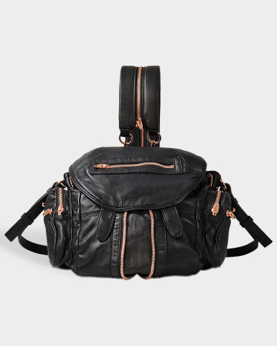 Mini Marti Backpack aus schwarzem Lammleder mit rosegoldfarbenem Finish
