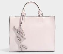 K/Signature Shopper Tasche aus hellrosanem glattem Kalbsleder