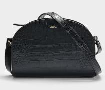 Tasche Demi-Lune aus schwarzem Kalbsleder