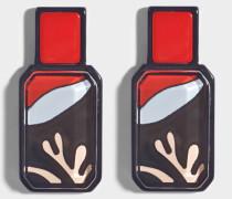 Octagonal Shaped Ohrringe in schwarzem, navyblauem und rotem Plexiglas