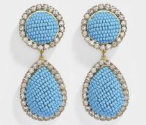 Ohrringe Bananitas Blau aus Messing, Swarovskikristallen und Muyukiperlen