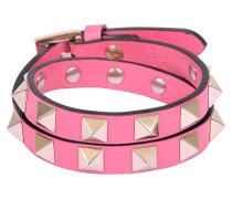 Rockstud Double Rows Armband Or Choker Halskette aus Shadow rosanem Kalbsleder