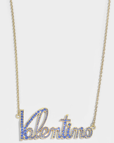 Valentino Crystals Lettering Halskette aus Metall und Zaffiro Swarowskisteinen