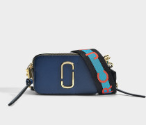 Handtasche Snapshot aus Kalbsleder mit Polyurethan Beschichtung in Blau und Bunt