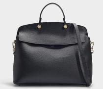 Handtasche mit Henkel My Piper Medium aus schwarzem Kalbsleder
