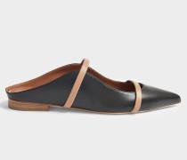 Maureen Flat 20 Mule Schuhe aus schwarzem und Nude Nappaleder