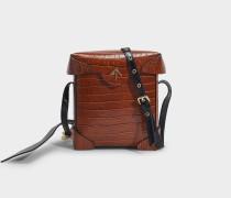 Mini Pristine Tasche aus Braunem und Schwarzem Kroko-Geprägtem und Weichen Lackleder