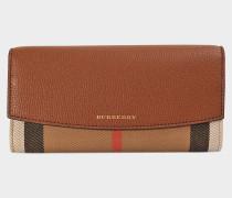 House Check Porter Flap Geldbörse aus Tan Canvas und Kalbsleder