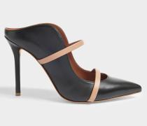 Maureen 100 High Mule Schuhe aus schwarzem und Nude Nappaleder