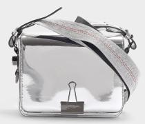 Handtasche mit Taschenklappe Mirroir aus Kalbsleder Metallic