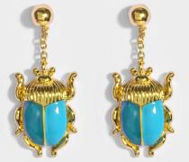 Elvira Scarab Ohrringe aus grünem und blauem Emaille und 18K vergoldetem Messing