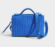 Don Baulundto Mini Gommino Tasche aus blauem Crosta Coco Wildleder