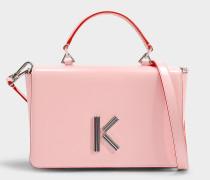 Große Handtasche mit Schulterriemen Klasp aus rosa Kalbsleder