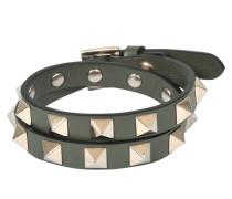 Rockstud Double Rows Armband Or Choker Halskette aus Oasis Khaki Kalbsleder