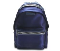 Satin geprägte Logo Falabella Go Backpack aus navyblauem Polyurethan Elasthan Polyester