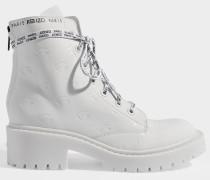 Pike Lace Up Stiefel aus weißem, Augenmotif-geprägtem Leder